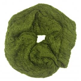 Puszysty damski szalik komin - oliwkowy zielony