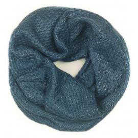 Damski szalik komin ze srebrną nitką - jeansowy niebieski