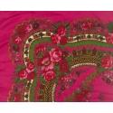 Chusta w ludowe folklorystyczne wzory – amarantowa różowa