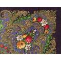 Chusta w ludowe folklorystyczne wzory – fioletowa