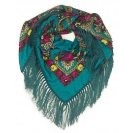 Chusta w ludowe folklorystyczne wzory – turkusowa