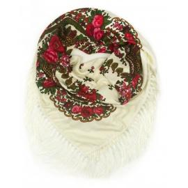 Chusta w ludowe folklorystyczne wzory – kremowa