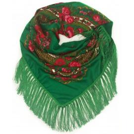 Chusta w ludowe folklorystyczne wzory – trawiasta zielona