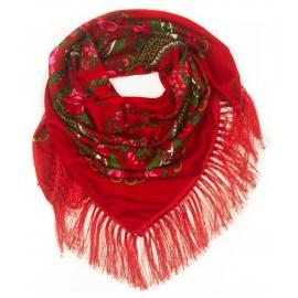 Chusta w ludowe folklorystyczne wzory – czerwona