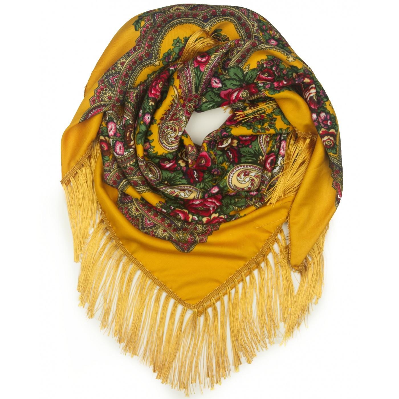 Chusta w ludowe folklorystyczne wzory – musztardowa żółta