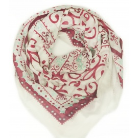Chusta w ornamentowe wzory - biały / bordowy / turkusowy