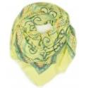 Chusta w ornamentowe wzory - żółty / jeansowy / miętowy