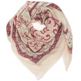 Chusta w ornamentowe wzory - różowy / bordowy / miętowy