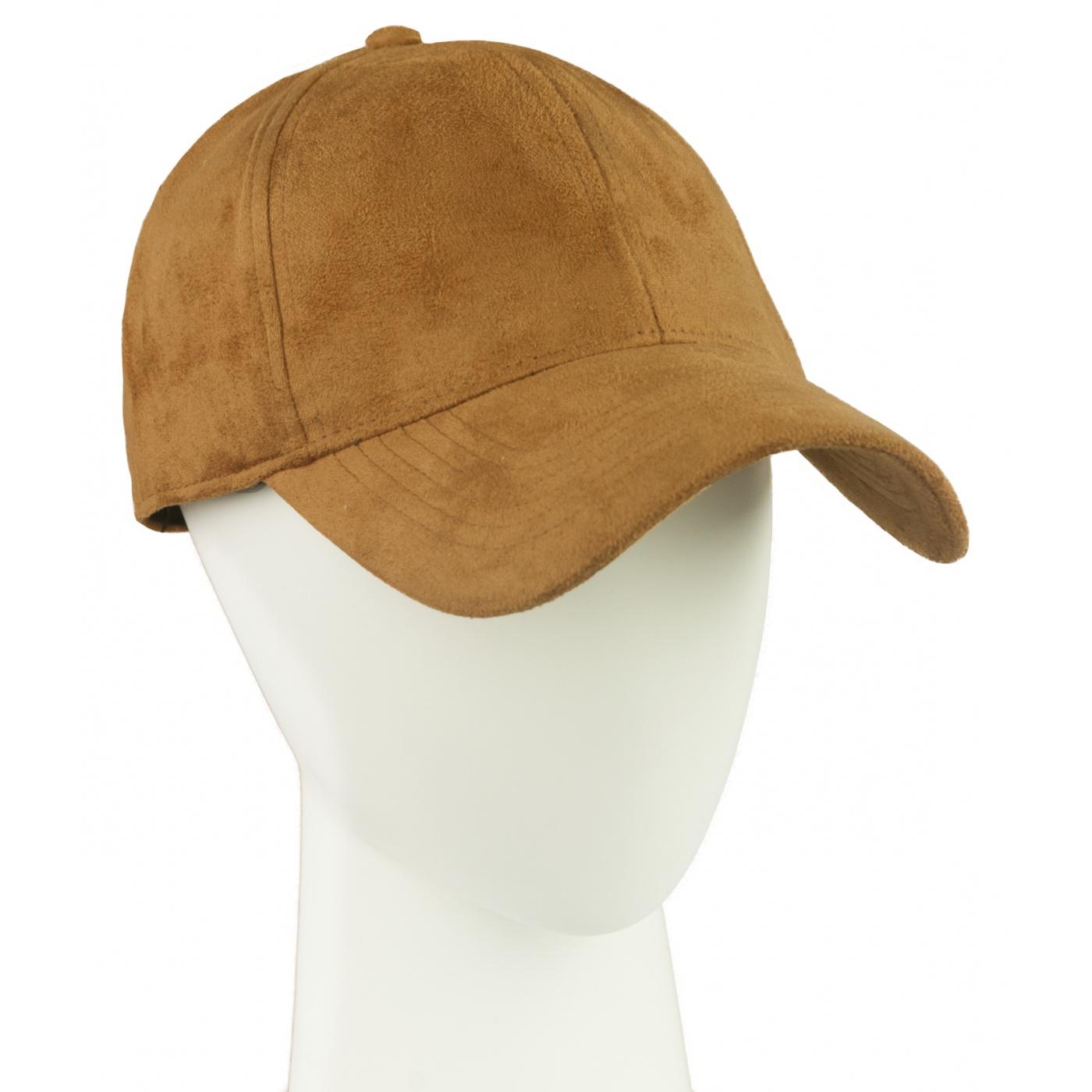 Zamszowa czapka z daszkiem – beżowa camel