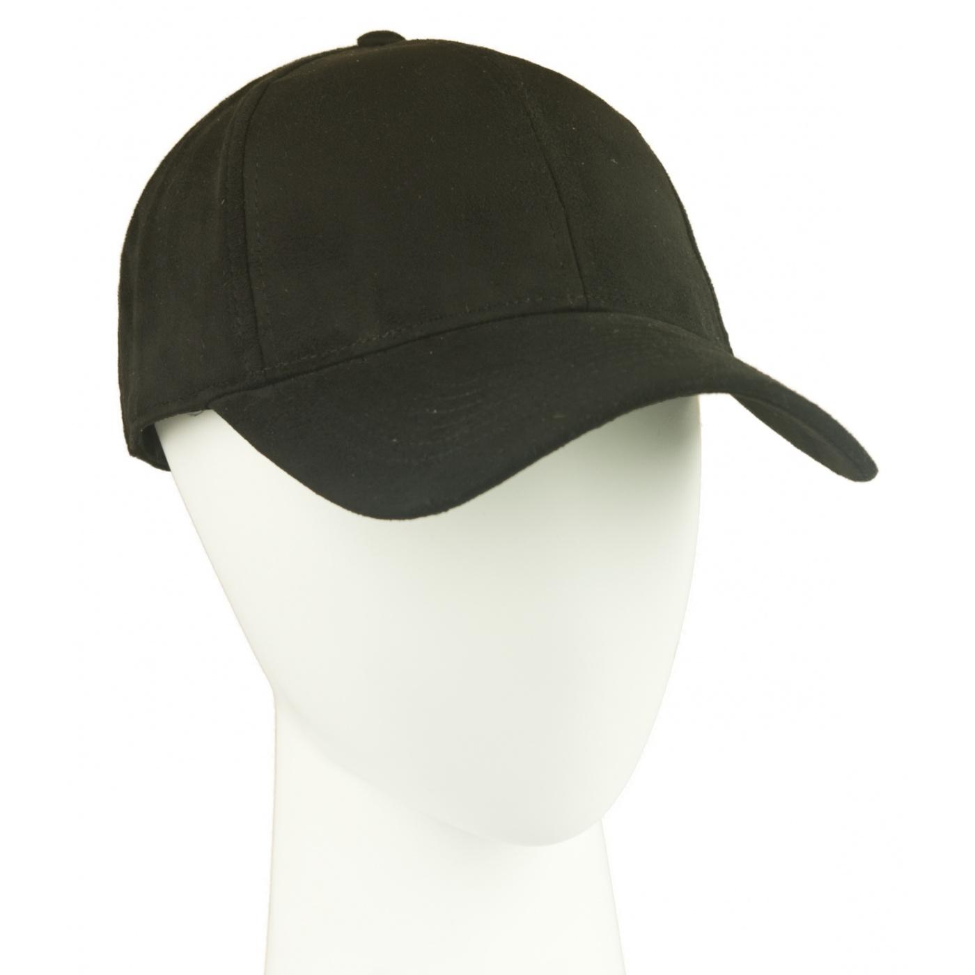 Zamszowa czapka z daszkiem – czarna