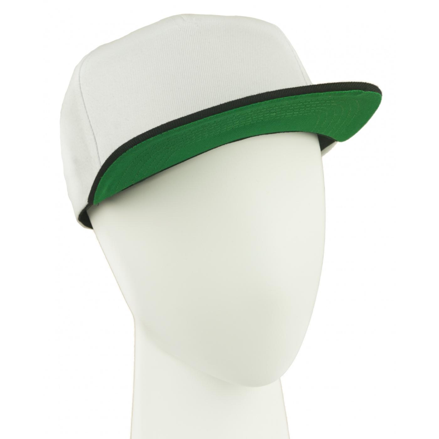 Czapka fullcap trzykolorowa – biały/czarny/zielony