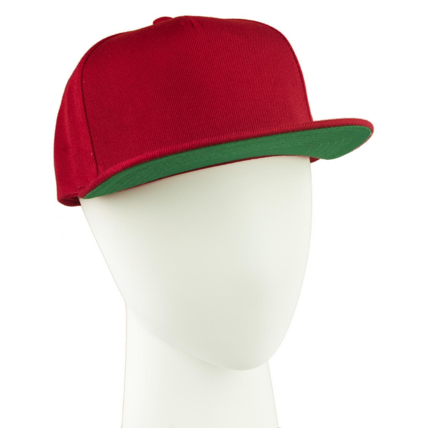 Czapka fullcap z dwukolorowym daszkiem – czerwony/zielony
