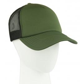 Czapka z daszkiem trucker – zielona z białym frontem