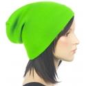 Czapka damska zimowa 3w1 beanie - zielona neonowa