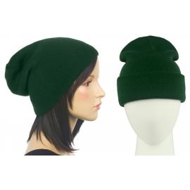 Czapka damska bezszwowa beanie 3w1 Janet - ciemna zielona