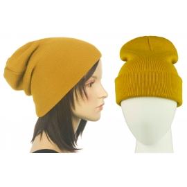 Czapka damska bezszwowa beanie 3w1 Janet - musztardowa żółta