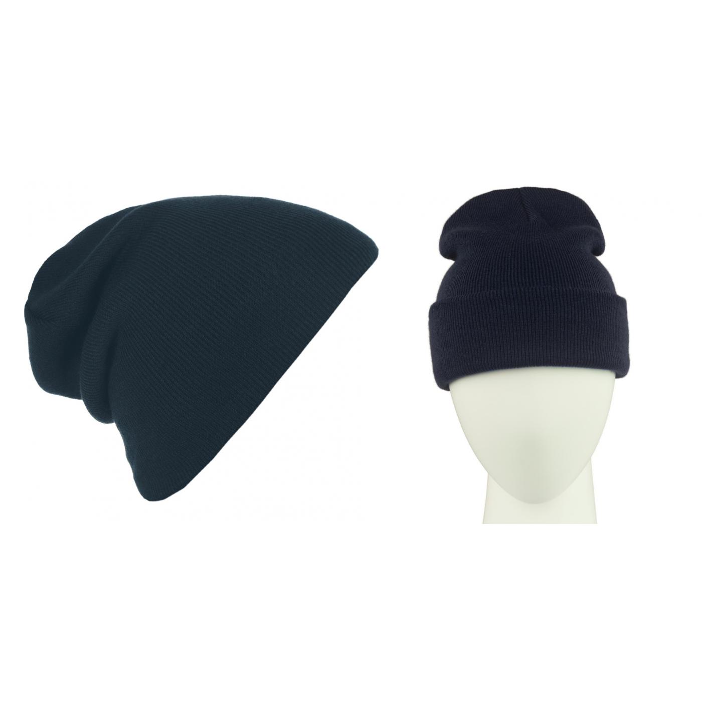 Męska czapka zimowa krasnal 3w1 - granatowa