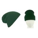 Męska czapka zimowa krasnal 3w1 - ciemna zieleń