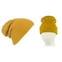 Męska czapka zimowa krasnal 3w1 - musztardowa