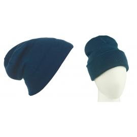 Męska czapka zimowa krasnal 3w1 - granatowo-zielona