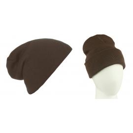 Męska czapka bezszwowa beanie 3w1 Jerry - brązowa