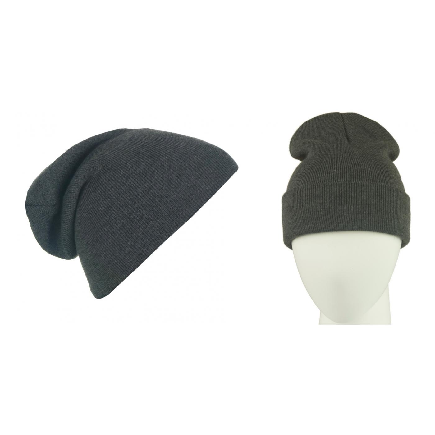 Męska czapka zimowa krasnal 3w1 - grafitowy melanż