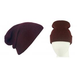 Męska czapka bezszwowa beanie 3w1 Jerry - bordowa melanż