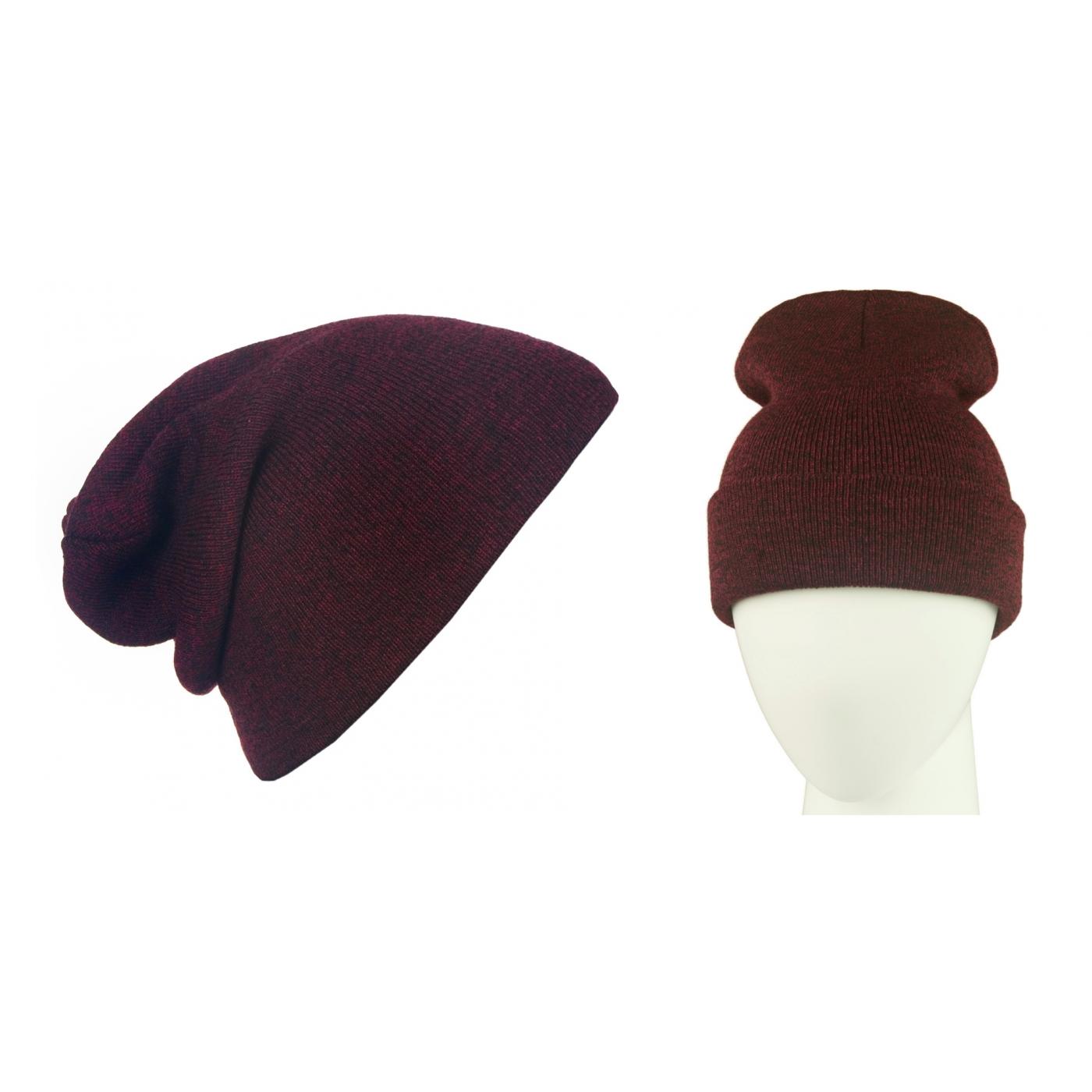 Męska czapka zimowa krasnal 3w1 - burgund melanż