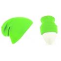 Męska czapka zimowa krasnal 3w1 - zielona neonowa