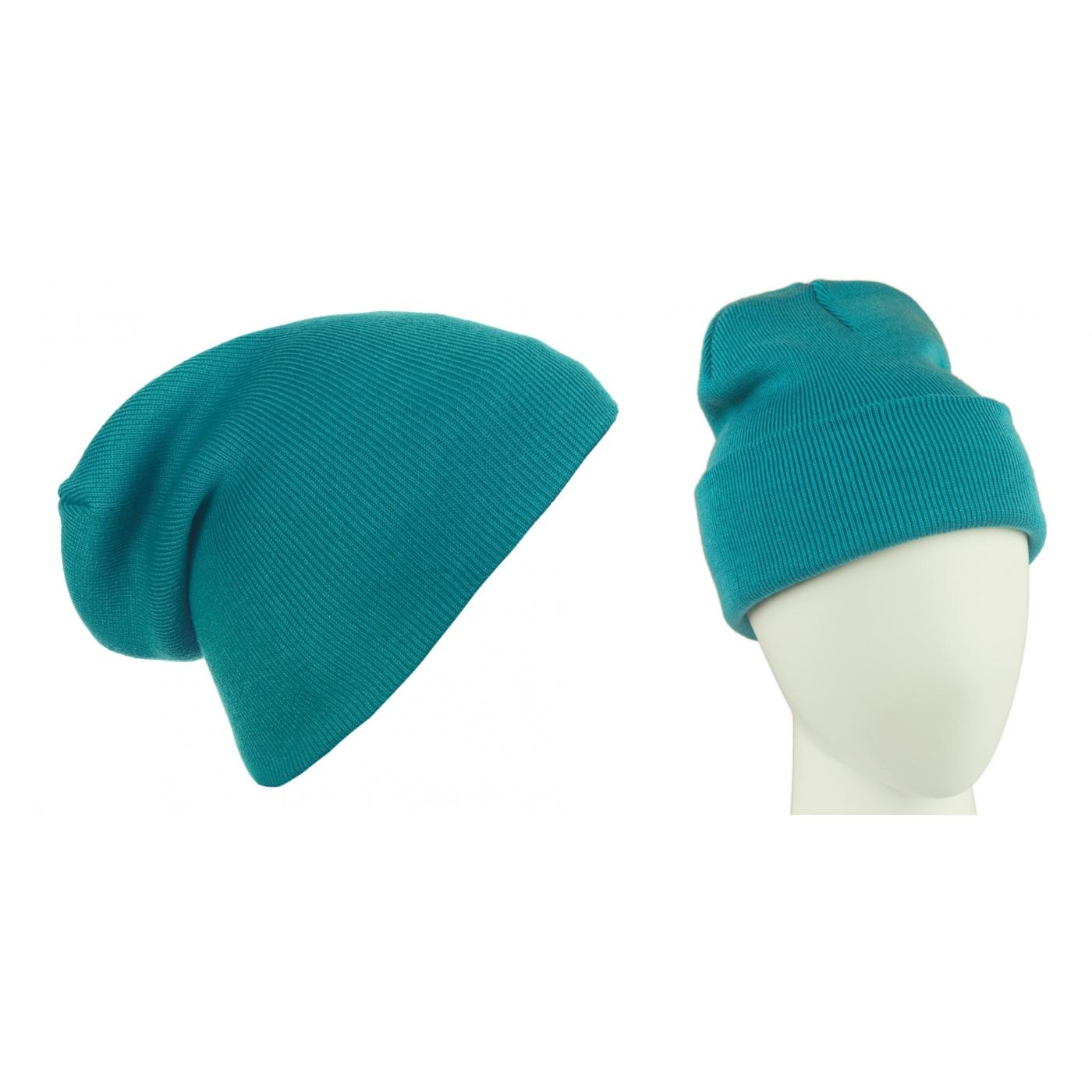 Męska czapka zimowa krasnal 3w1 - turkusowa