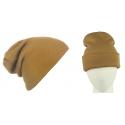 Męska czapka zimowa krasnal 3w1 - karmelowy beżowy