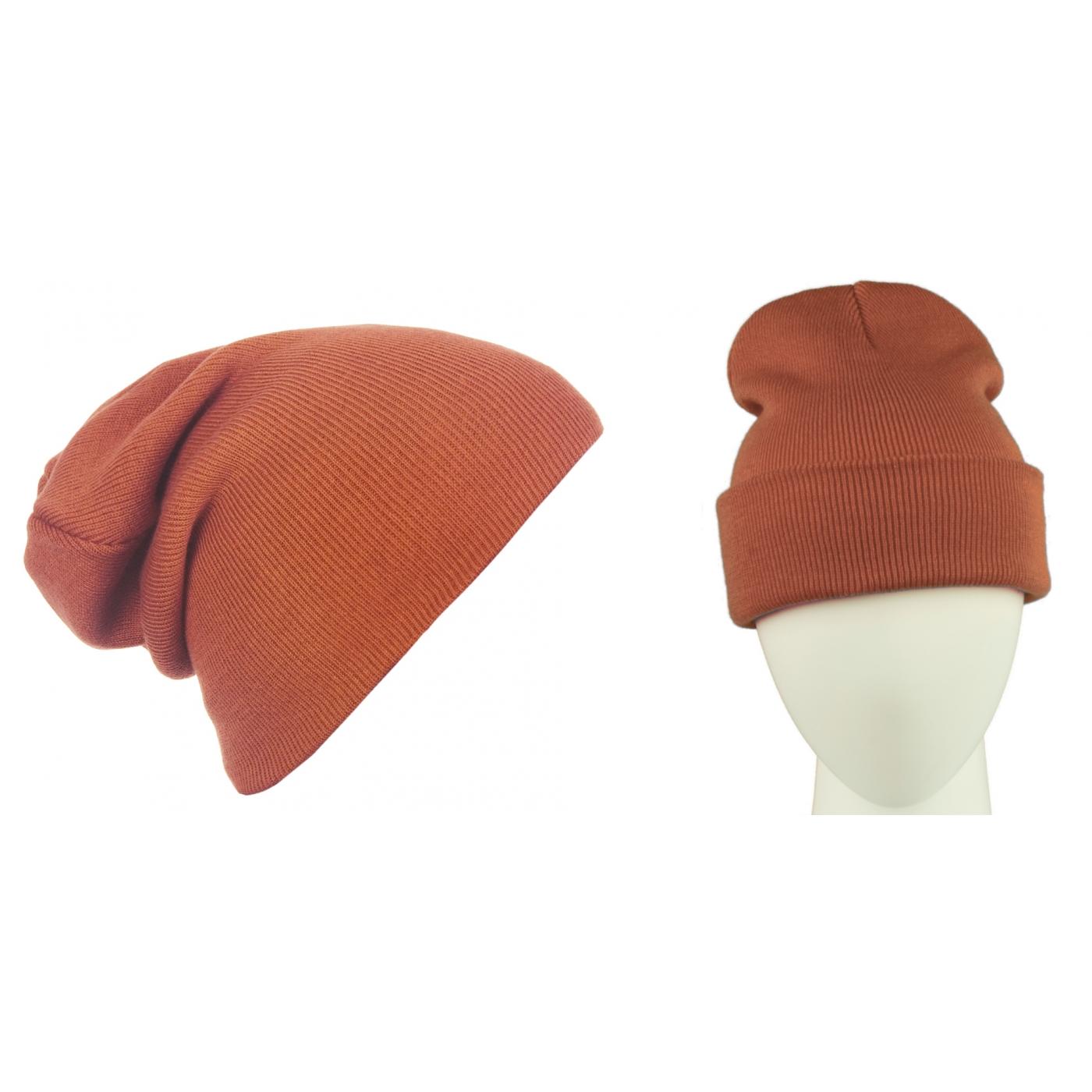 Męska czapka zimowa krasnal 3w1 - rdzawa ruda