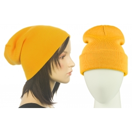 Czapka damska bezszwowa beanie 3w1 Janet - żółta miodowa