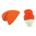 Męska czapka zimowa krasnal 3w1 - pomarańczowa