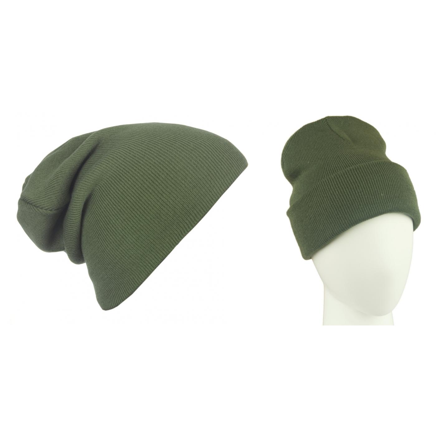 Męska czapka zimowa krasnal 3w1 - khaki zielony