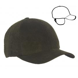 Męska zimowa sztruksowa czapka z daszkiem i nausznikami - oliwkowa zielona