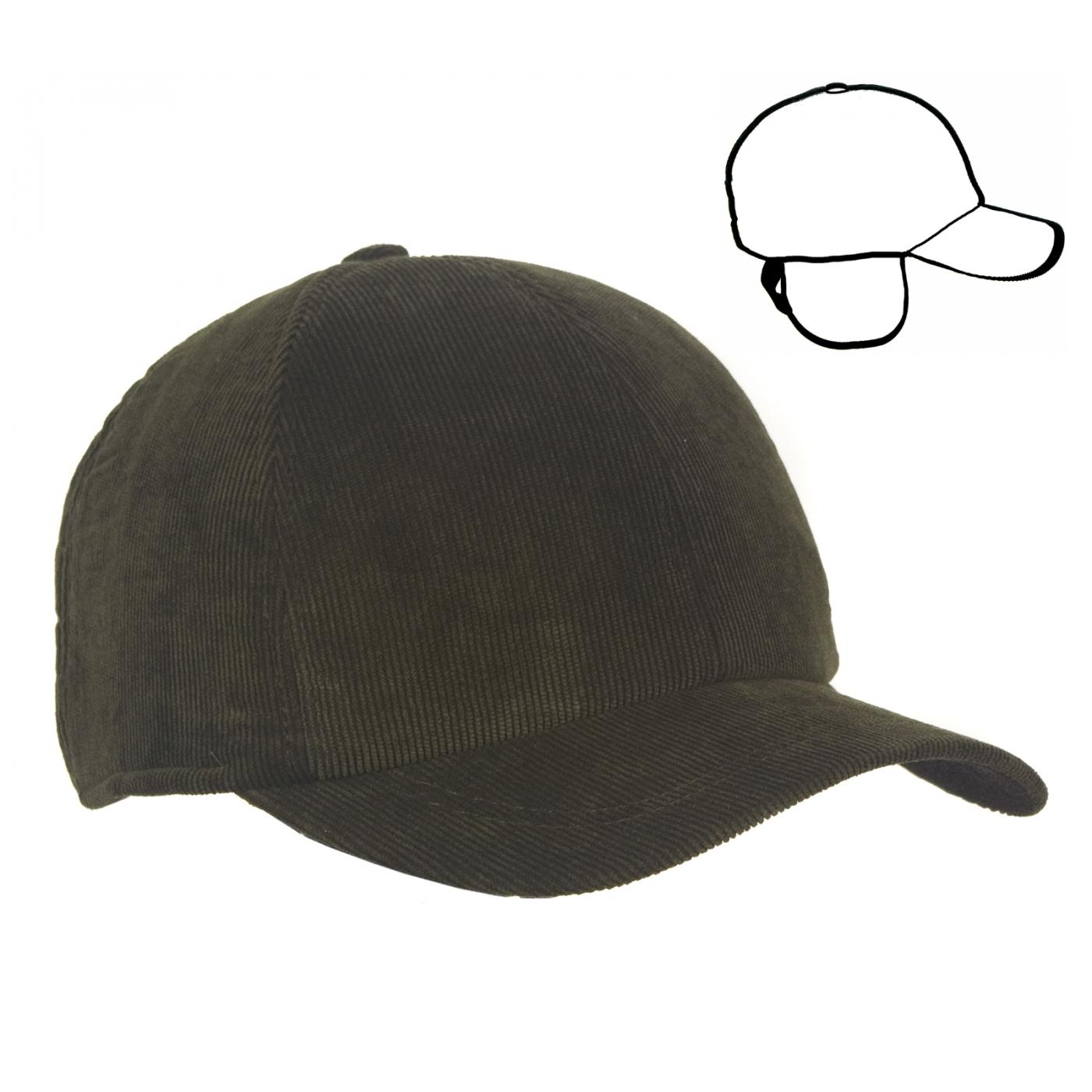 Męska zimowa sztruksowa czapka z daszkiem - oliwkowa