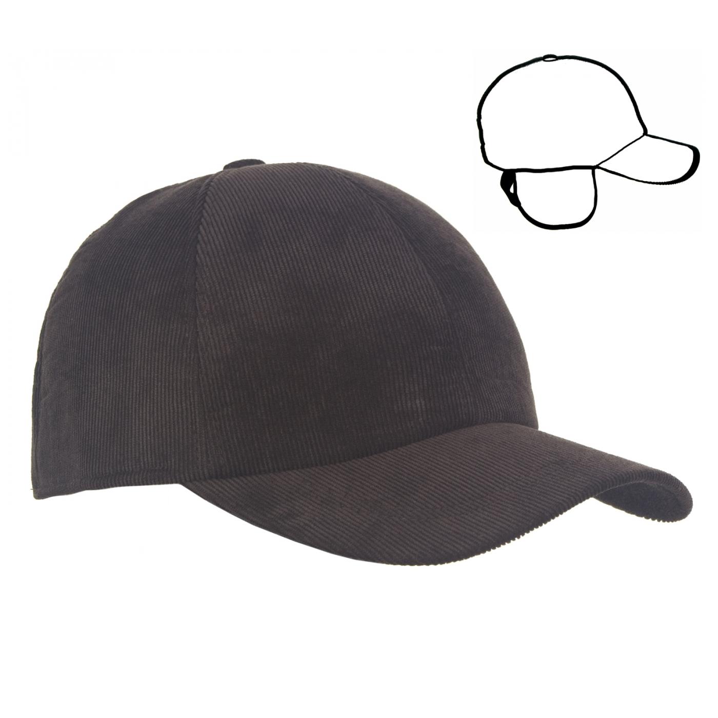 Męska zimowa sztruksowa czapka z daszkiem - brązowa