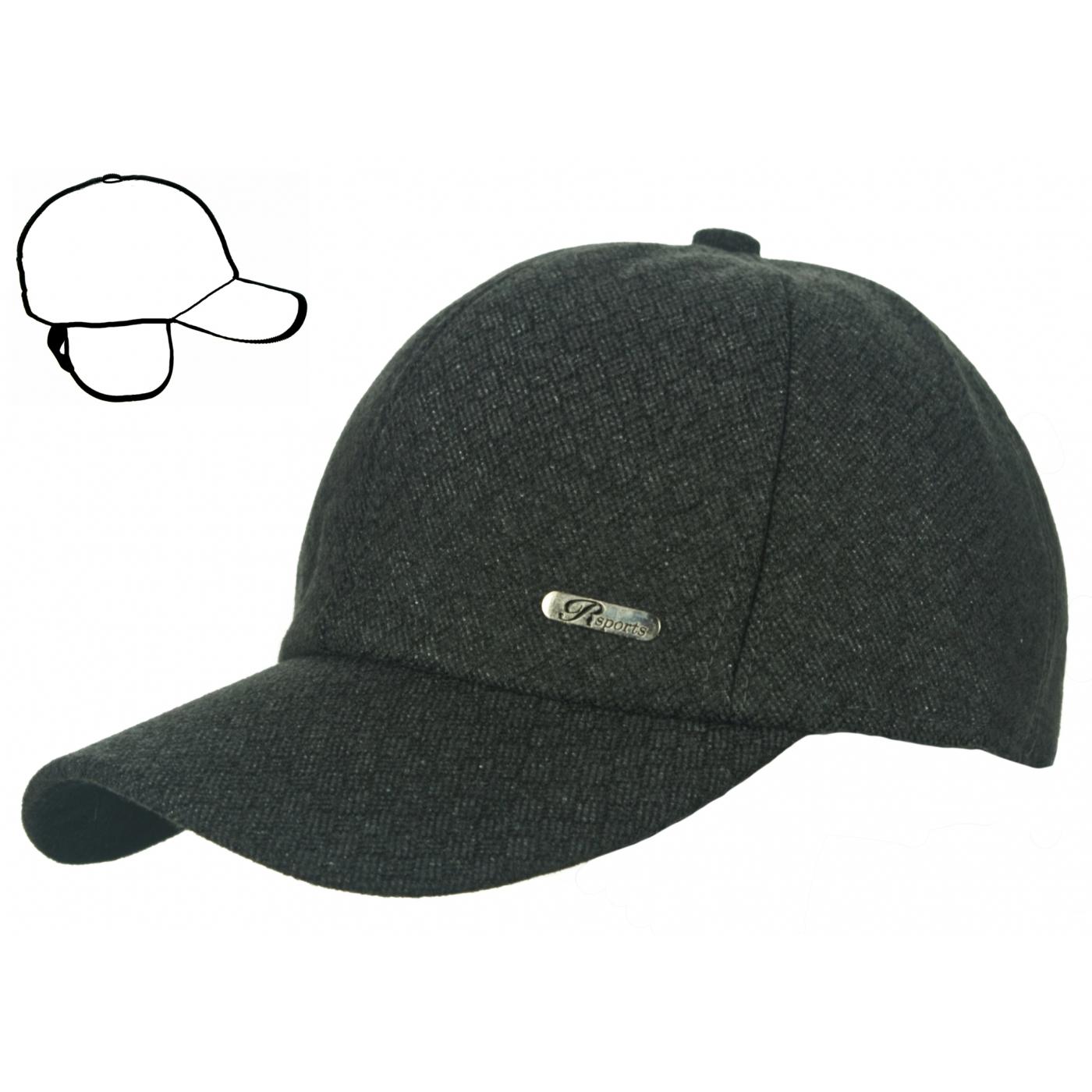 Męska wełniana zimowa czapka z daszkiem i nausznikami - czarna