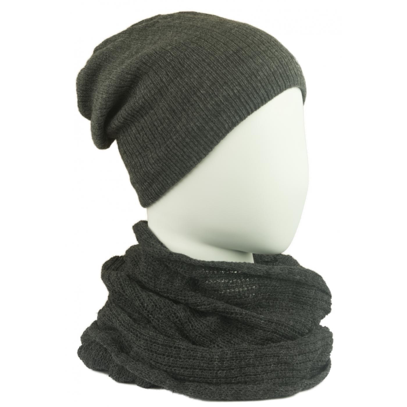 Komplet męski czapka na polarze i szalik komin: ciemnoszary