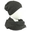 Komplet męski czapka zimowa i szalik komin: ciemnoszary