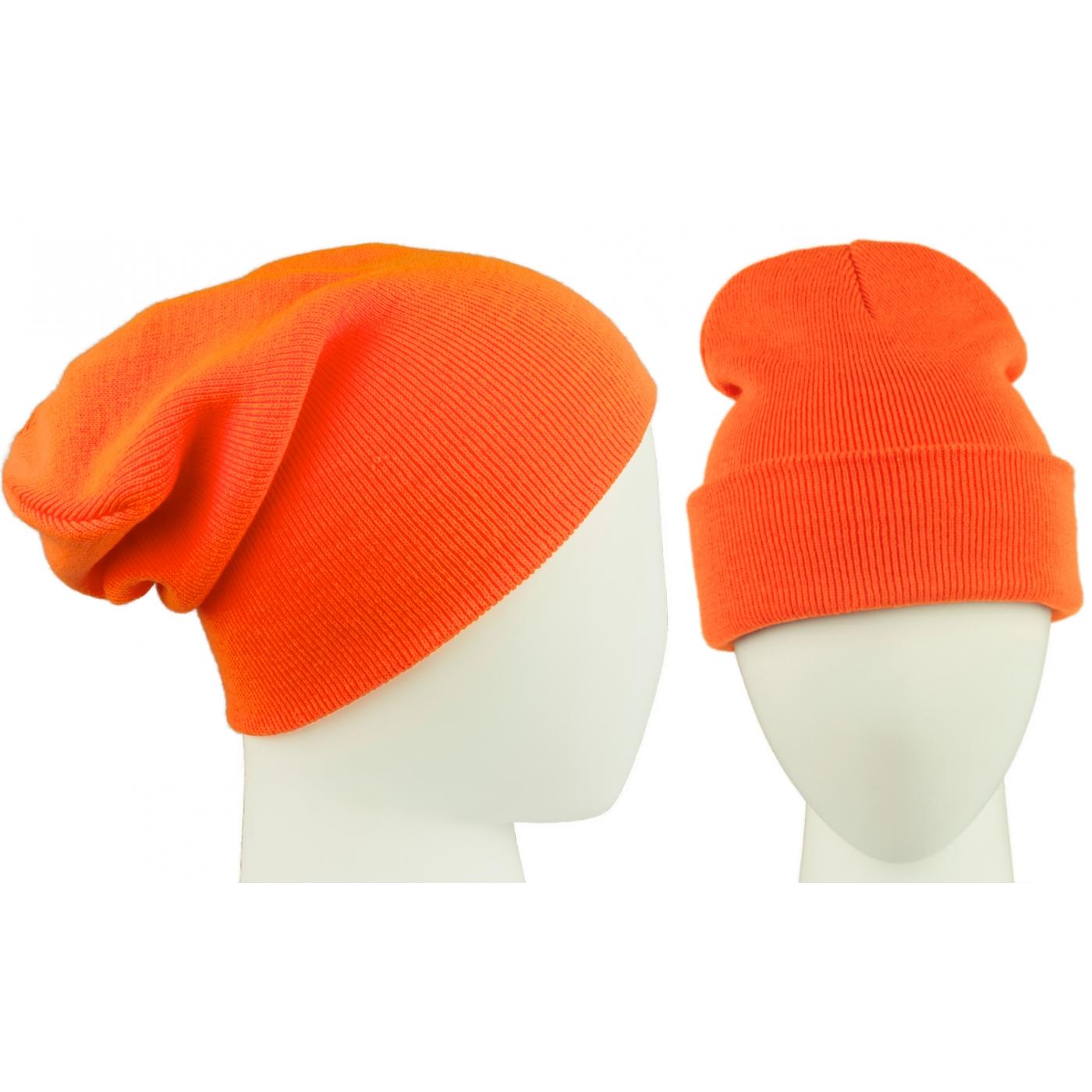 Czapka damska zimowa 3w1 beanie - pomarańczowy fluo