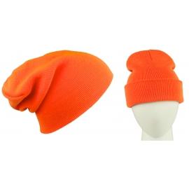 Męska czapka zimowa krasnal 3w1 - pomarańczowa neonowa