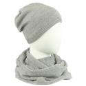 Komplet męski czapka zimowa i szalik komin: szary