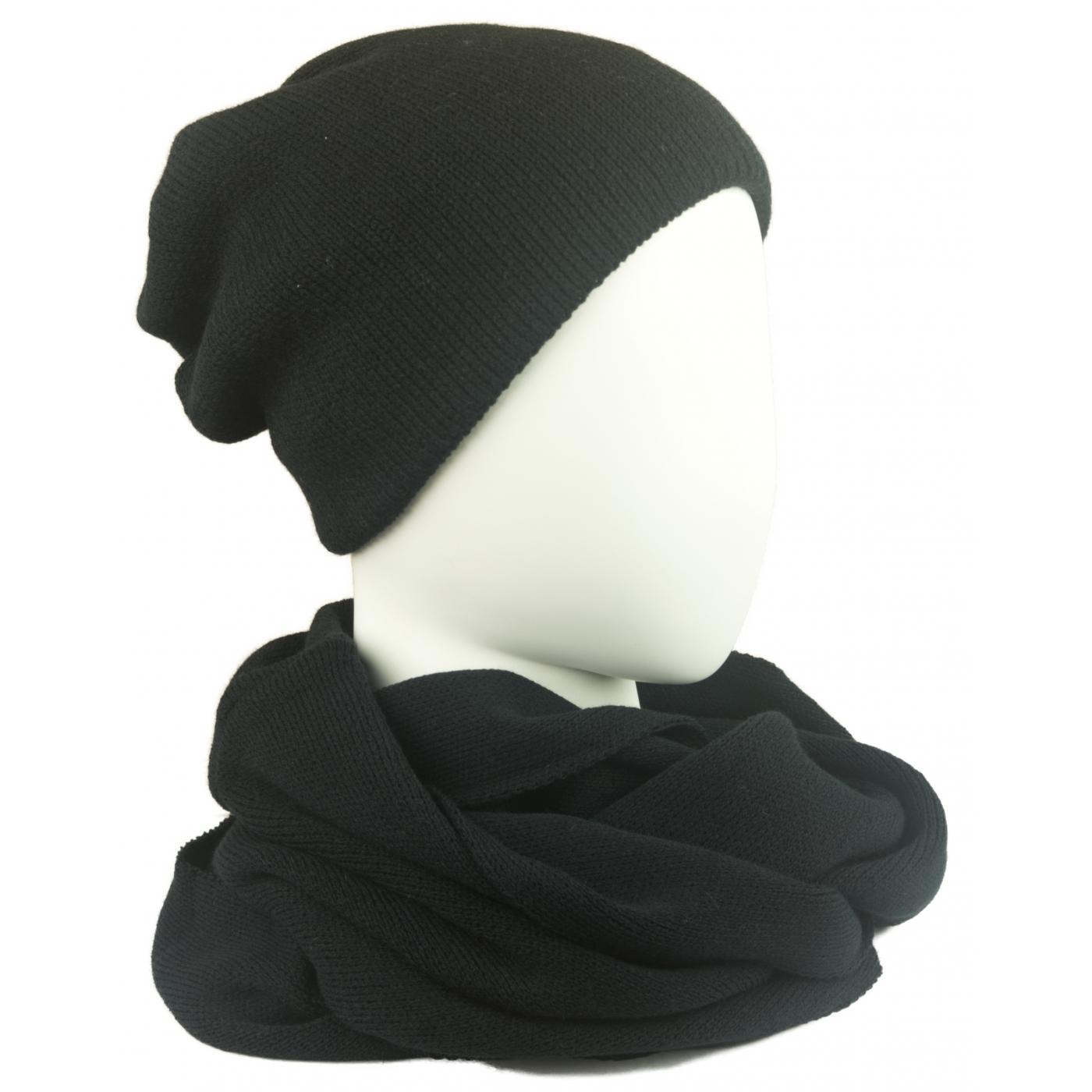 Komplet męski czapka zimowa i szalik komin: czarny