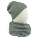Komplet męski czapka na polarze i szalik komin: popielaty