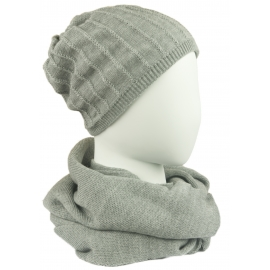 Męski komplet prążkowana czapka i szalik komin: jasny szary