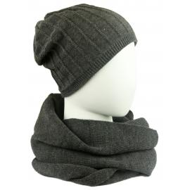Męski komplet prążkowana czapka i szalik komin: ciemny szary