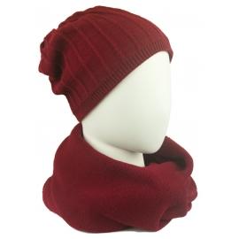 Komplet damski Eva prążkowana czapka i szalik komin - bordo