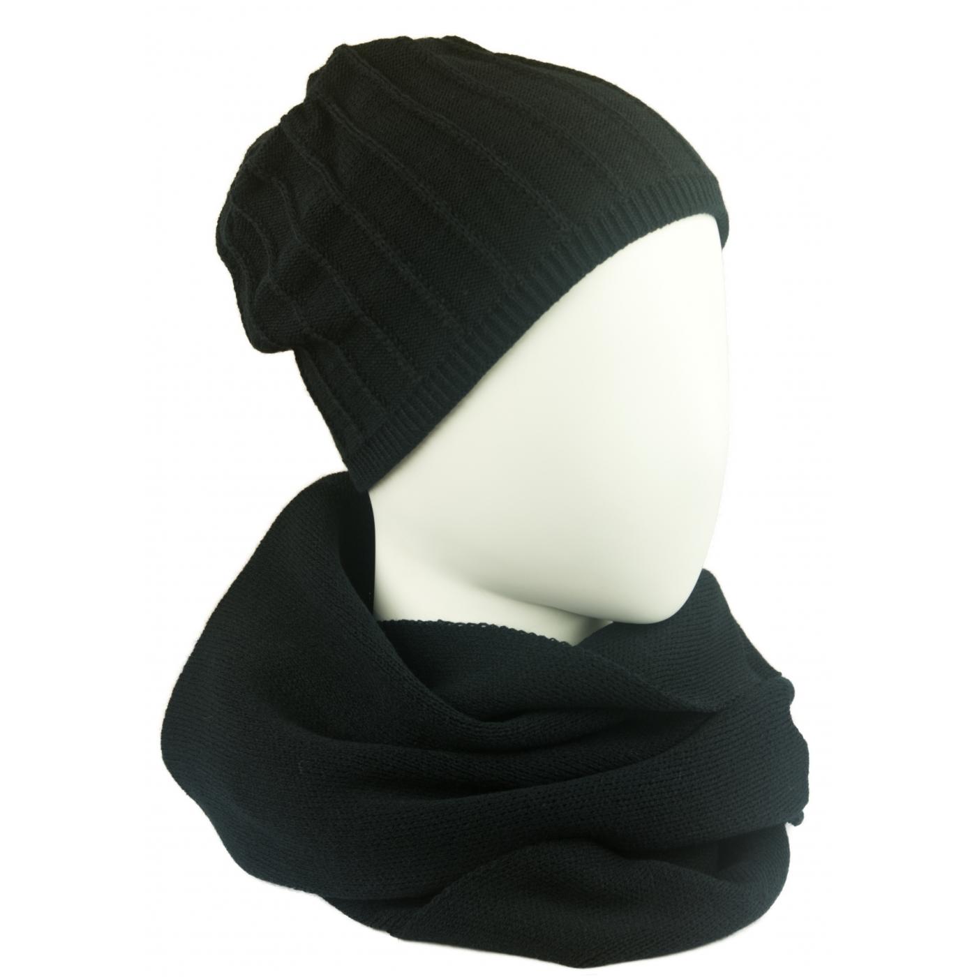 Komplet damski prążkowana czapka i szalik komin - czarny